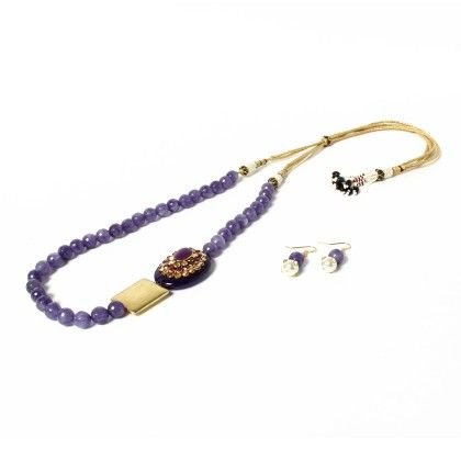Purple Necklace With Ear Rings - Latitude - The Design Studio
