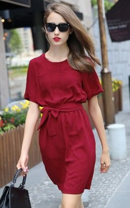 Red Shirtwaist Short Sleeve Tie-waist Casual Dress - She In