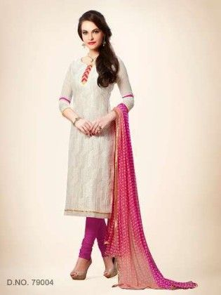 Embroidered Dress With Printed Dupatta - Off White - Touch Trends Ethnic