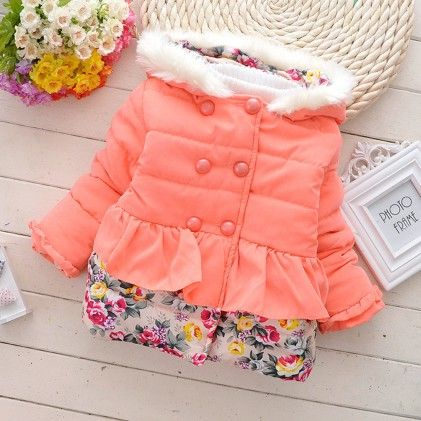 Peach With Floral Prints Jacket - Lil Mantra
