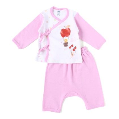 Pink Apple Parachute With Teddy Full Sleeves Set - ZERO