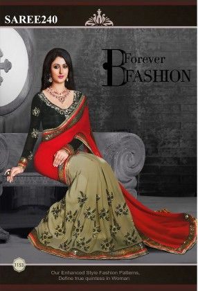 Red And Black Designer Saree - Fashion Fiesta