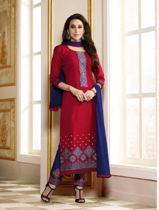 Red And Blue Plazzo Style Dress Material - Fashion Fiesta
