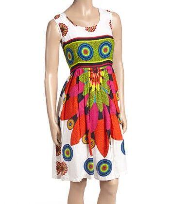 Fuchsia & Green Flower A-line Dress - Women - Yo Baby