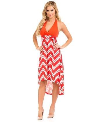 Hi-lo Halter Maxi Dress-coral - Xcel Couture