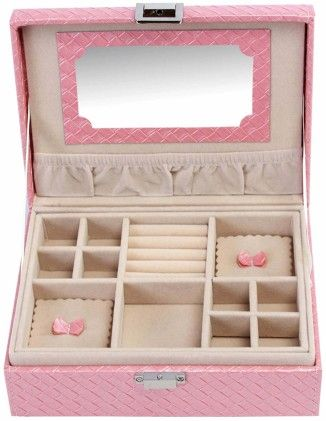 Uberlyfe Travel Friendly Candy Pink Jewellery Box With Cross Weave Pattern - S