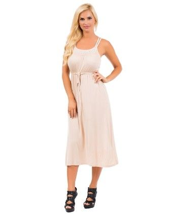Embellished Sleeveless Maxi Dress - Biege - Xcel Couture