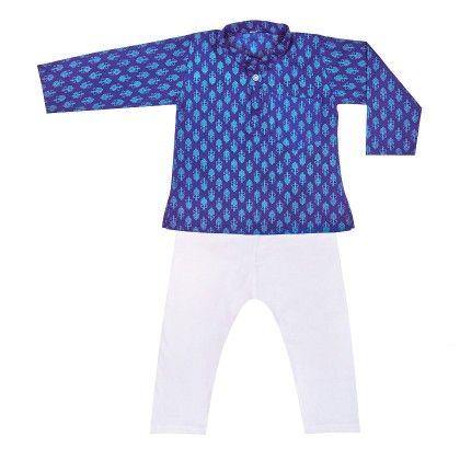 Printed Kurta Pyjama- Blue - BownBee