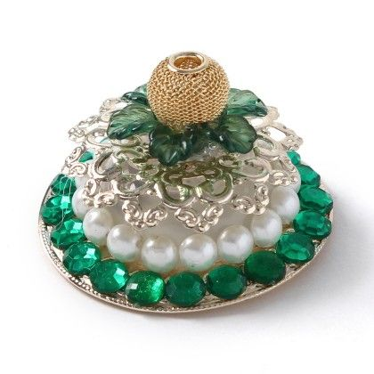 Green Battery Operated Diyas With Golden Emblishment & Pearls - Sugar Candy