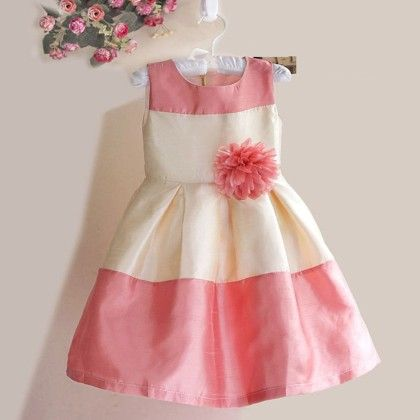 Peach And Cream Party Dress - Petite Kids