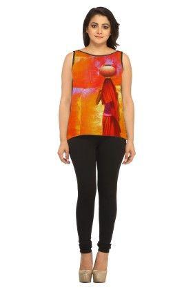 Georgette Self Design Orange - Avya