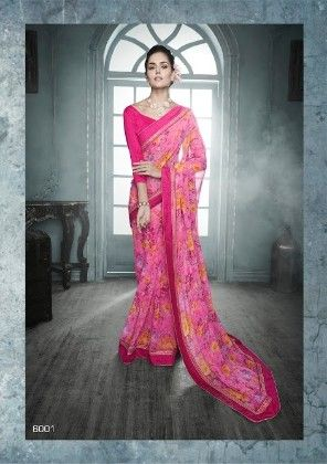 Pink All Over Printed Saree - Fashion Fiesta
