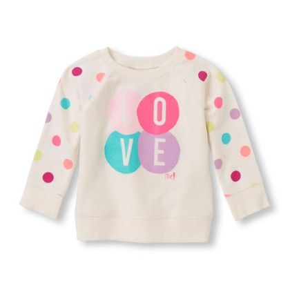 Long Sleeve Printed Raglan Sleeve Top - Cloud - The Children's Place