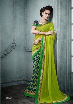 Green All Over Printed Saree - Fashion Fiesta