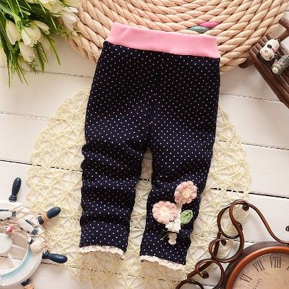 Floral Applique Baby Legging Warm Fleece Thick Liner Bottom- Navy - Jazzy Snazzy