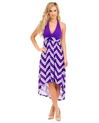 Hi-lo Halter Maxi Dress-purple - Xcel Couture
