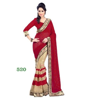 Red And Golden Designer Saree - Fashion Fiesta