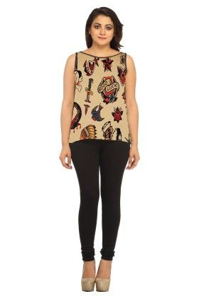 Georgette Graphic Print Brown - Avya