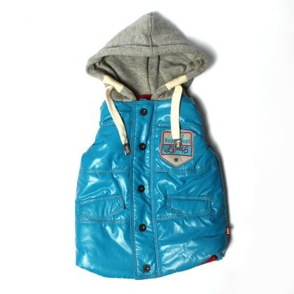 Petrol Blue Havy S/l Quilted Jacket Front Opnig In Button Style - Little Kangaroos