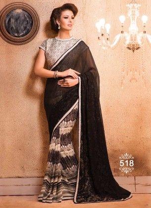 Elegant Balck Designer Saree - Fashion Fiesta