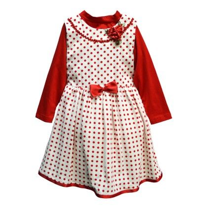 Red Polka Dot Girl's Frock With Tshirt - Petals