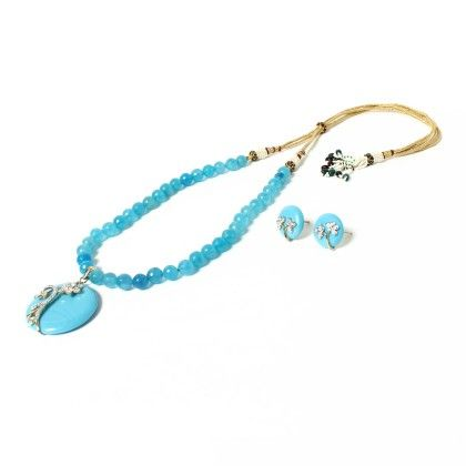 Blue Beaded Necklace With Earring - Latitude - The Design Studio
