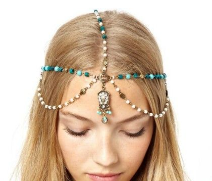 Blue And White Beaded Headgear - Enigma