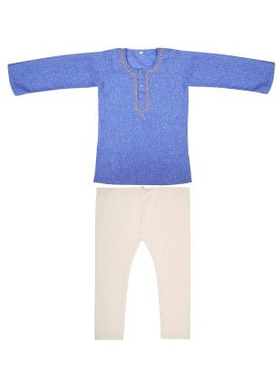 Kurta Pyjama Set With Embroidery - Blue - BownBee