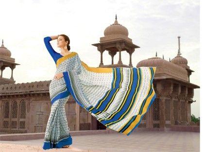 White And Blue Printed Saree - Fashion Fiesta