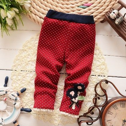 Floral Applique Baby Legging Warm Fleece Thick Liner Bottom- Red - Jazzy Snazzy