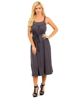 Embellished Sleeveless Maxi Dress - Charcoal - Xcel Couture