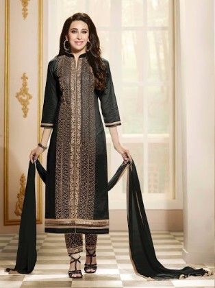 Black And Bronz Party Wear Cotton Straight Suit - Fashion Fiesta
