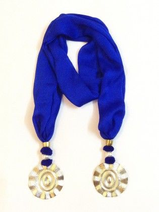 Satin Georgette Royal Blue Jewelled Scarf - Lime