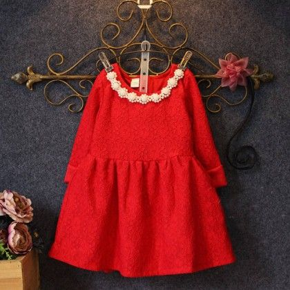 Red With White Lace Winter Party Frock - Lil Mantra