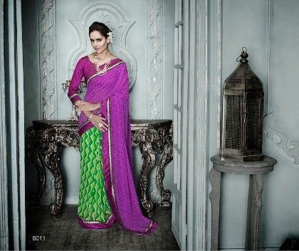 Purple Green All Over Printed Saree - Fashion Fiesta