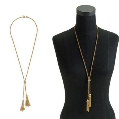 Double Tassel Necklace Gold Plated Long Design Gift Necklace - Gold - Beautyshow