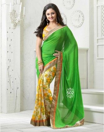 Yellow Floral Designer Saree - Fashion Fiesta