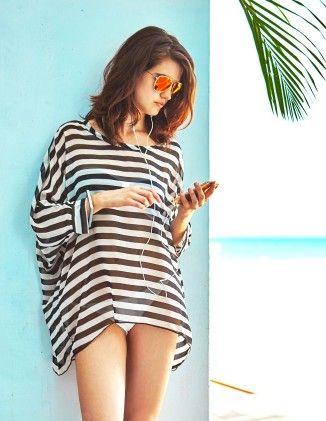 Stylish Black / White Striped Fashion Beach Swimsuit Cover-up - Black/white - MyGift