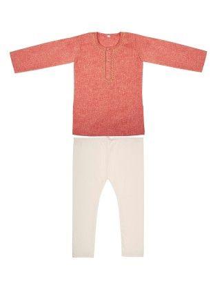 Kurta Pyjama Set With Embroidery - Red - BownBee