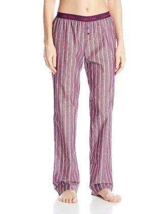Woven Roll Up Pajama Pant - Darkest Plum - CalvinKlein