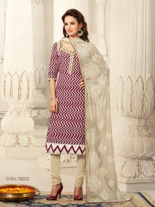 Resham Embroidery Thread Work With All Over Zigzag Print Top Multi - Touch Trends Ethnic