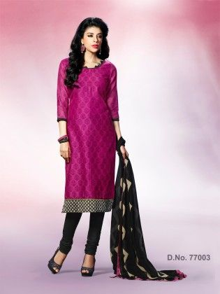 Traditional Block Print With Contrast Printed Border & Ready Lace - Touch Trends Ethnic