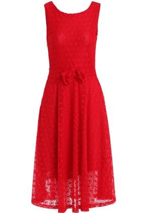Red Sleeveless Floral Crochet Bow Lace Dress - She In