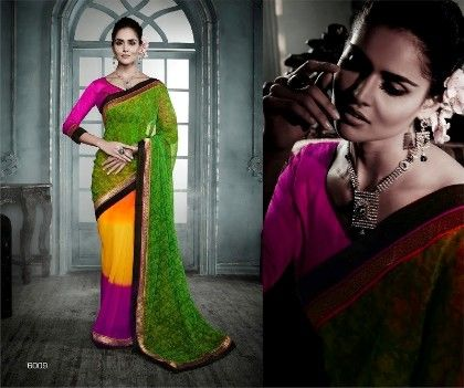 Four Colour All Over Printed Saree - Fashion Fiesta