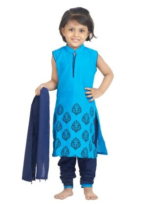 Cotton Kurti Churidar Suit- Blue - BownBee