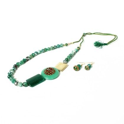 Green Beaded Necklace With Ear Rings ' - Latitude - The Design Studio