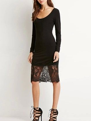 Black Long Sleeve Lace Hem Bodycon Dress - She In
