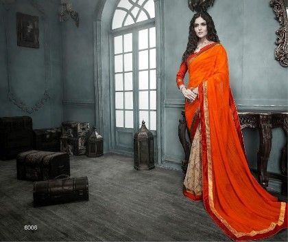 Orange All Over Printed Saree - Fashion Fiesta
