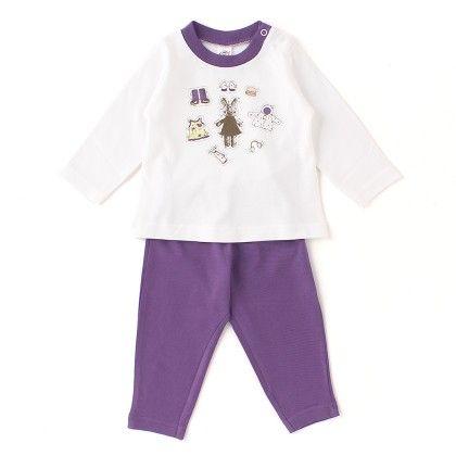 Teddy With Cap, Boots, Print, Full Sleeves Set - White / Purple - ZERO
