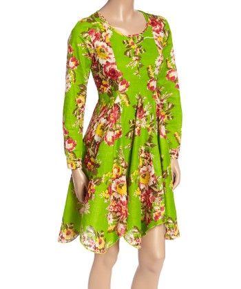 Green Floral A-line Dress - Women - Yo Baby